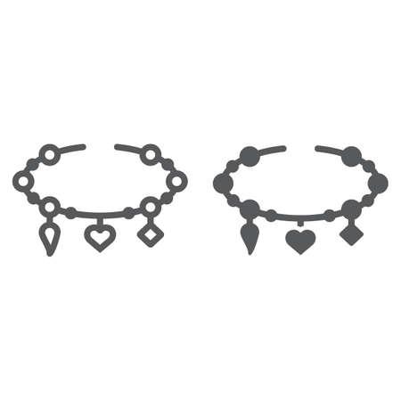 Bracelet avec ligne de coeur et icône de glyphe, bijoux et accessoire, bracelet avec signe de pendentifs, graphiques vectoriels, un dessin linéaire sur fond blanc.