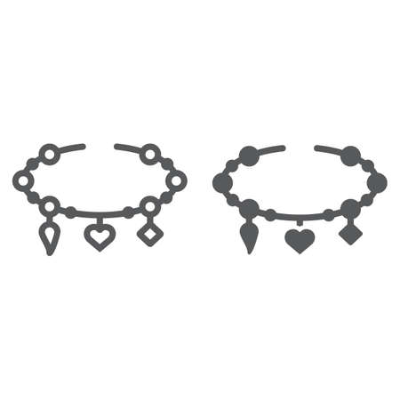 Bracelet with heart line and glyph icon, jewellery and accessory, bracelet with pendants sign, vector graphics, a linear pattern on a white background.