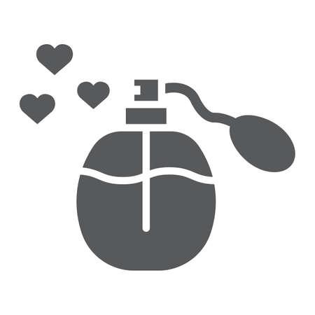 Icône de glyphe de parfum d'amour, arôme et signe de bouteille fluide et romantique, graphiques vectoriels, un motif solide sur fond blanc, eps 10. Vecteurs