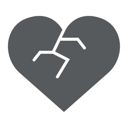 Broken heart glyph icon, love and broke, heartbreak sign, vector graphics, a solid pattern on a white background, eps 10.