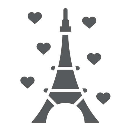 Eiffel tower glyph icon, france and paris, architecture sign, vector graphics, a solid pattern on a white background, eps 10.  イラスト・ベクター素材