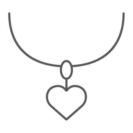 Necklace with heart thin line icon, jewelry and accessory, pendant sign, vector graphics, a linear pattern on a white background, eps 10.