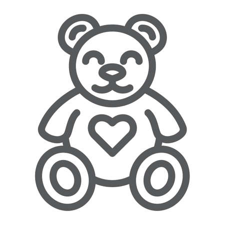 Teddy bear line icon, animal and child, plush toy sign, vector graphics, a linear pattern on a white background, eps 10.