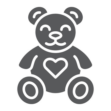 Teddy bear glyph icon, animal and child, plush toy sign, vector graphics, a solid pattern on a white background, eps 10.