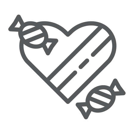 Chocolates line icon, valentines and romantic, heart sweets sign, vector graphics, a linear pattern on a white background, eps 10.