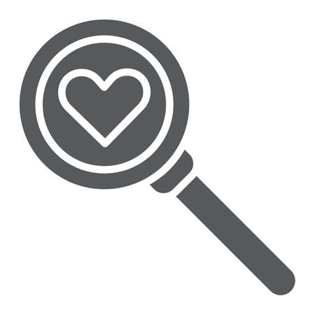 Ricerca dell'icona del glifo d'amore, amour e lente, segno di lente d'ingrandimento, grafica vettoriale, un modello solido su sfondo bianco, eps 10. Vettoriali