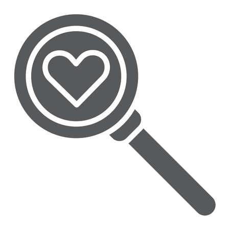 Suche nach Liebesglyphensymbol, Amour und Linse, Lupenzeichen, Vektorgrafiken, einem festen Muster auf weißem Hintergrund, eps 10. Vektorgrafik