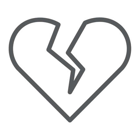 Broken heart line icon, valentine and relationship, sad love sign, vector graphics, a linear pattern on a white background.