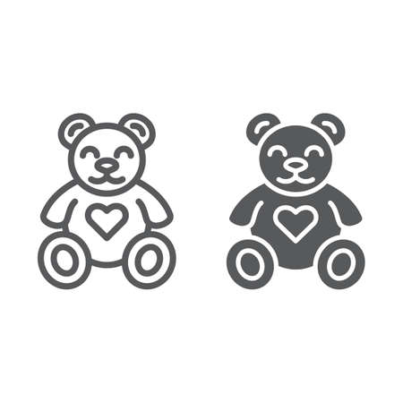 Teddy bear line and glyph icon, animal and child, plush toy sign, vector graphics, a linear pattern on a white background, eps 10.