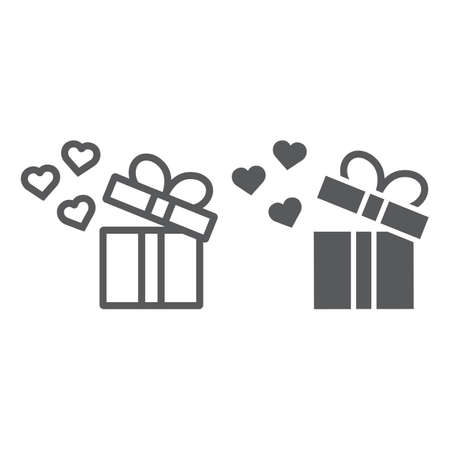 Gift line and glyph icon, love and package, gift box with hearts sign, vector graphics, a linear pattern on a white background, eps 10. Illustration