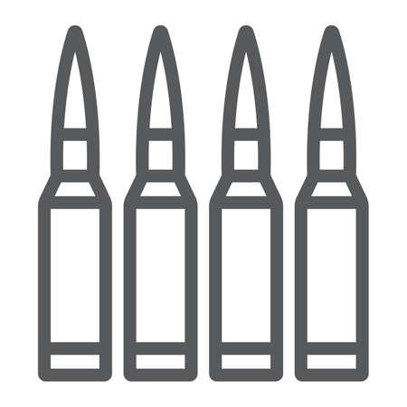 Kugelliniensymbol, Munition und Armee, Kaliberzeichen, Vektorgrafiken, ein lineares Muster auf weißem Hintergrund. Vektorgrafik