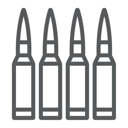 Bullets line icon, ammunition and army, caliber sign, vector graphics, a linear pattern on a white background.