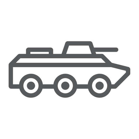 Amphibious vehicle line icon, transport and army, tank sign, vector graphics, a linear pattern on a white background. 向量圖像