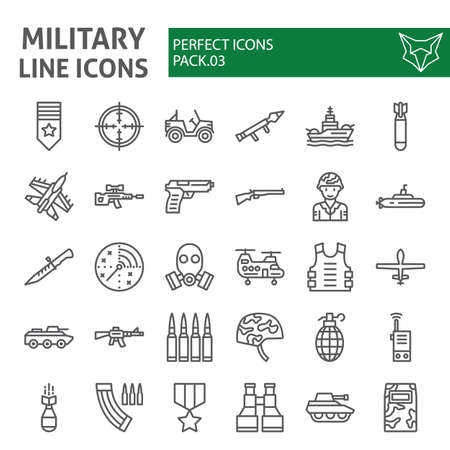 Conjunto de iconos de línea militar, colección de símbolos del ejército, dibujos vectoriales, ilustraciones, paquete de pictogramas lineales de signos de guerra aislado sobre fondo blanco. Ilustración de vector