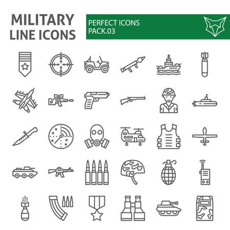 Insieme dell'icona di linea militare, collezione di simboli dell'esercito, abbozzi di vettore, illustrazioni, pacchetto di pittogrammi lineari di segni di guerra isolato su priorità bassa bianca. Vettoriali