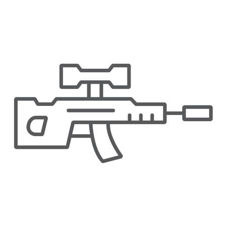 Sniper rifle thin line icon, weapon and military, gun sign, vector graphics, a linear pattern on a white background. Ilustrace