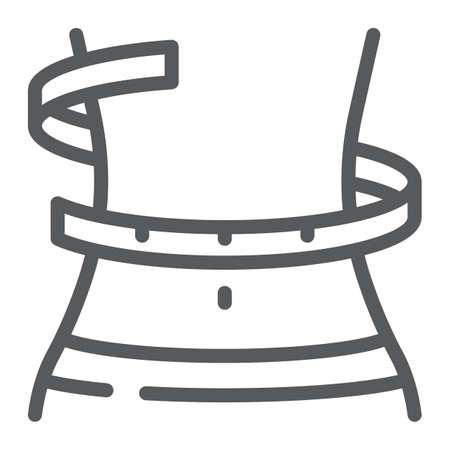 Icona della linea di perdita di peso, fitness e corpo, segno di girovita, grafica vettoriale, un modello lineare su sfondo bianco, eps 10. Vettoriali