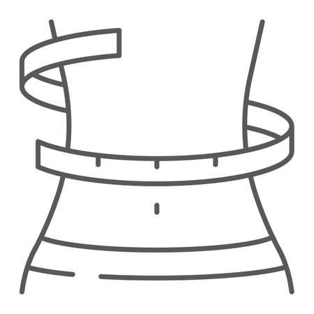 Icona di linea sottile di perdita di peso, fitness e corpo, segno di girovita, grafica vettoriale, un modello lineare su sfondo bianco, eps 10.
