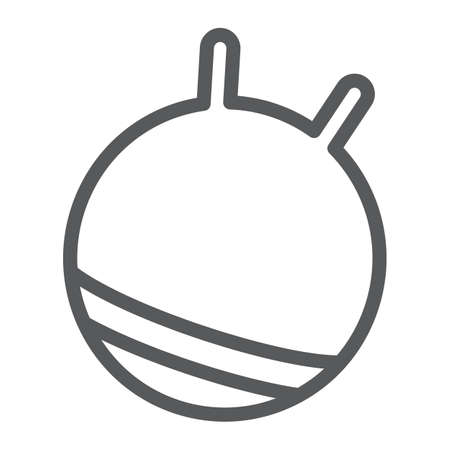 Exercise ball line icon, fitness and equipment, rubber ball sign, vector graphics, a linear pattern on a white background. Illustration