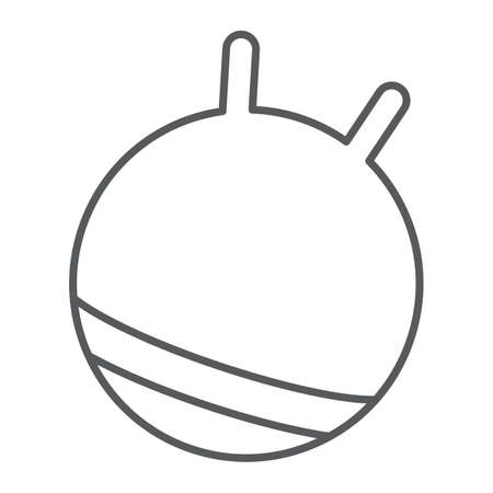 Exercise ball thin line icon, fitness and equipment, rubber ball sign, vector graphics, a linear pattern on a white background.