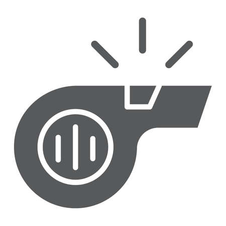 Whistle glyph icon, sport and equipment, blower sign, vector graphics, a solid pattern on a white background.