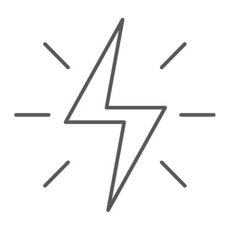 Energy thin line icon, electric and power, lightning sign, vector graphics, a linear pattern on a white background, eps 10.