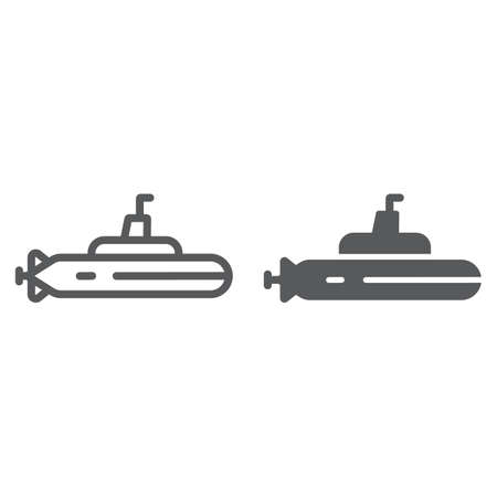 Submarine line and glyph icon, ocean and navy, boat sign, vector graphics, a linear pattern on a white background.