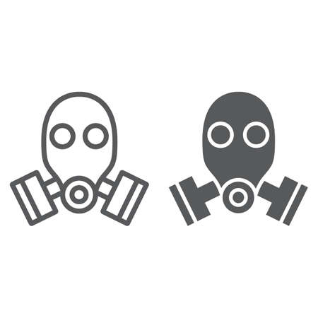 Gasmaskenlinie und Glyphensymbol, Verteidigung und Armee, Atemschutzzeichen, Vektorgrafiken, ein lineares Muster auf weißem Hintergrund, eps 10.