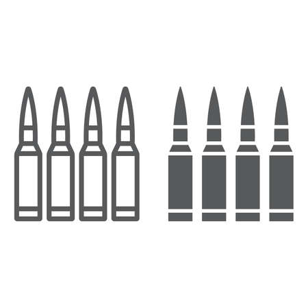 Bullets line and glyph icon, ammunition and army, caliber sign, vector graphics, a linear pattern on a white background. Illustration