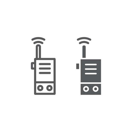 Walkie talkie line and glyph icon, security and communication, radio set sign, vector graphics, a linear pattern on a white background. Иллюстрация