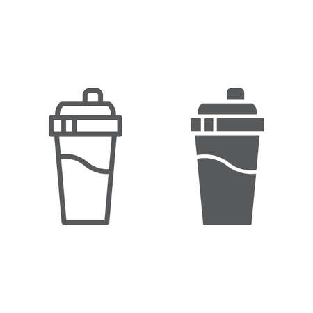 Bottle shaker line and glyph icon, drink and container, cup sign, vector graphics, a linear pattern on a white background, eps 10.