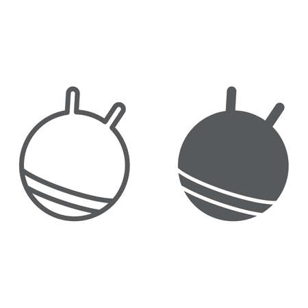 Exercise ball line and glyph icon, fitness and equipment, rubber ball sign, vector graphics, a linear pattern on a white background. Illustration