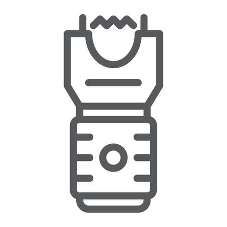 Electroshock weapon line icon, protection and security, firearm sign, vector graphics, a linear pattern on a white background, eps 10.