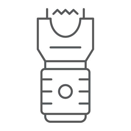 Electroshock weapon thin line icon, protection and security, firearm sign, vector graphics, a linear pattern on a white background, eps 10.