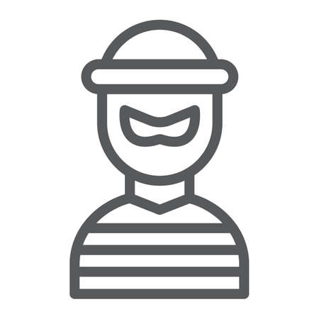 Robber line icon, burglar and criminal, bandit sign, vector graphics, a linear pattern on a white background, eps 10.