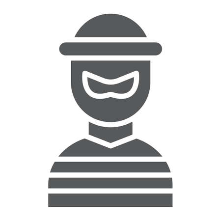 Robber glyph icon, burglar and criminal, bandit sign, vector graphics, a solid pattern on a white background, eps 10. Illustration