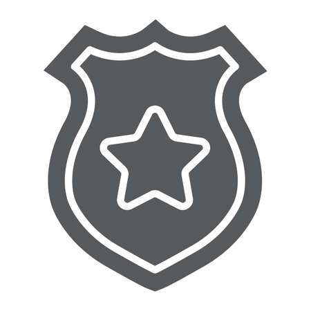 Police badge glyph icon, police and sheriff, officer badge sign, vector graphics, a solid pattern on a white background. Illustration