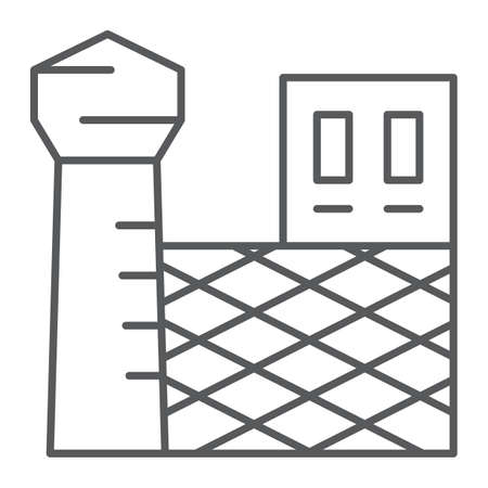 Prison thin line icon, building and security, jail sign, vector graphics, a linear pattern on a white background, eps 10.