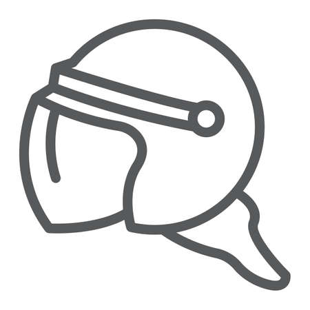 Helmet line icon, protection and uniform, police helmet sign, vector graphics, a linear pattern on a white background, eps 10.