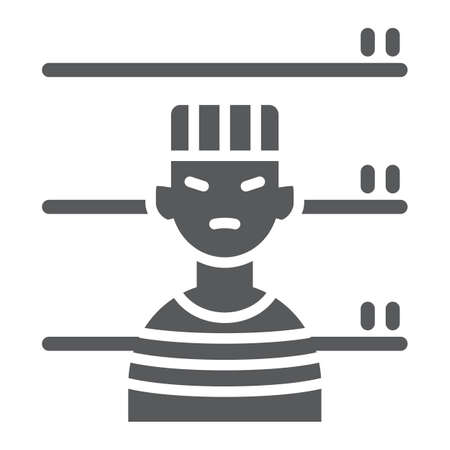 Prisoner glyph icon, criminal and jail, man sign, vector graphics, a solid pattern on a white background, eps 10.