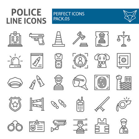 Police line icon set, security symbols collection, vector sketches, logo illustrations, safety signs linear pictograms package isolated on white background.