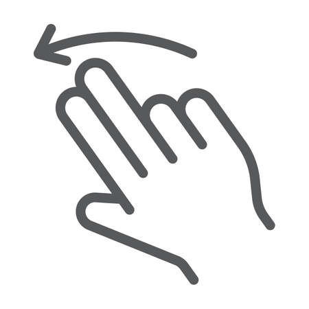 Two finger flick left line icon, gesture and hand, swipe sign, vector graphics, a linear pattern on a white background.