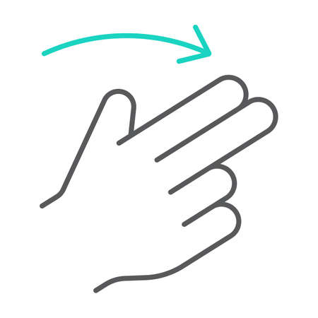 Two finger flick right thin line icon, gesture and hand, swipe sign, vector graphics, a linear pattern on a white background, eps 10.