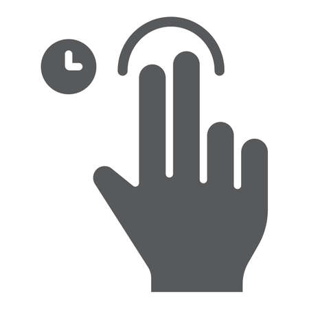Two fingers touch and hold glyph icon, gesture and hand, swipe sign, vector graphics, a solid pattern on a white background, eps 10.