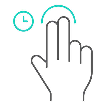 Two fingers touch and hold thin line icon, gesture and hand, swipe sign, vector graphics, a linear pattern on a white background, eps 10. Çizim