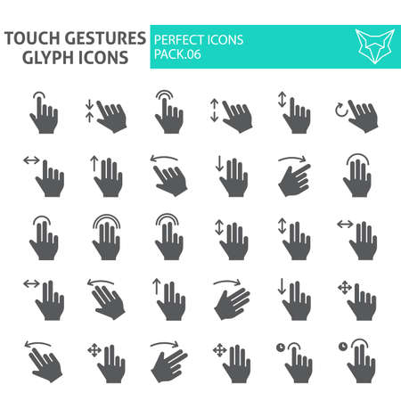 Touch gestures glyph icon set, click symbols collection, vector sketches, logo illustrations, swipe signs solid pictograms package isolated on white background.