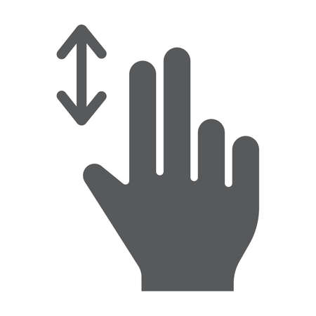 Two finger vertical scroll glyph icon, gesture and hand, press sign, vector graphics, a solid pattern on a white background, eps 10. Illustration