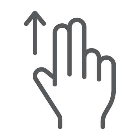 Two finger drag up line icon, gesture and hand, flick sign, vector graphics, a linear pattern on a white background, eps 10. 矢量图像
