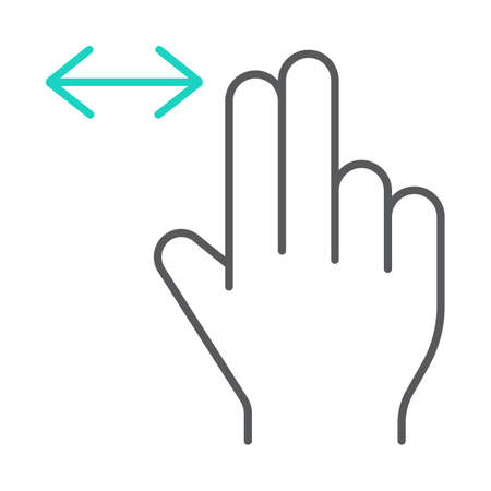 Two finger horizontal scroll thin line icon, gesture and hand, press sign, vector graphics, a linear pattern on a white background, eps 10.