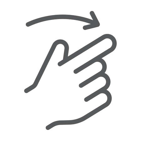 Flick right line icon, finger and hand, gesture sign, vector graphics, a linear pattern on a white background, eps 10.